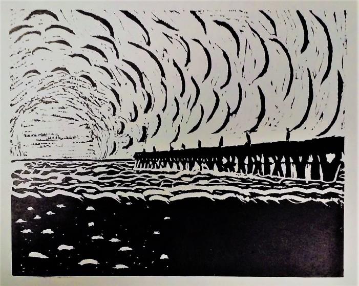 FISHING PIER, WRIGHTSVILLE BEACH, NC, SUNRISE - Linocut Print